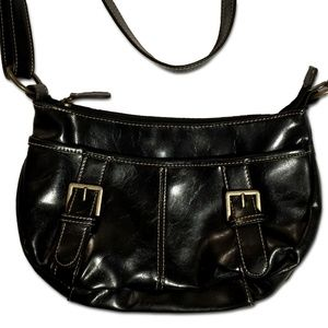 Handbags - Cute black faux leather purse with buckles